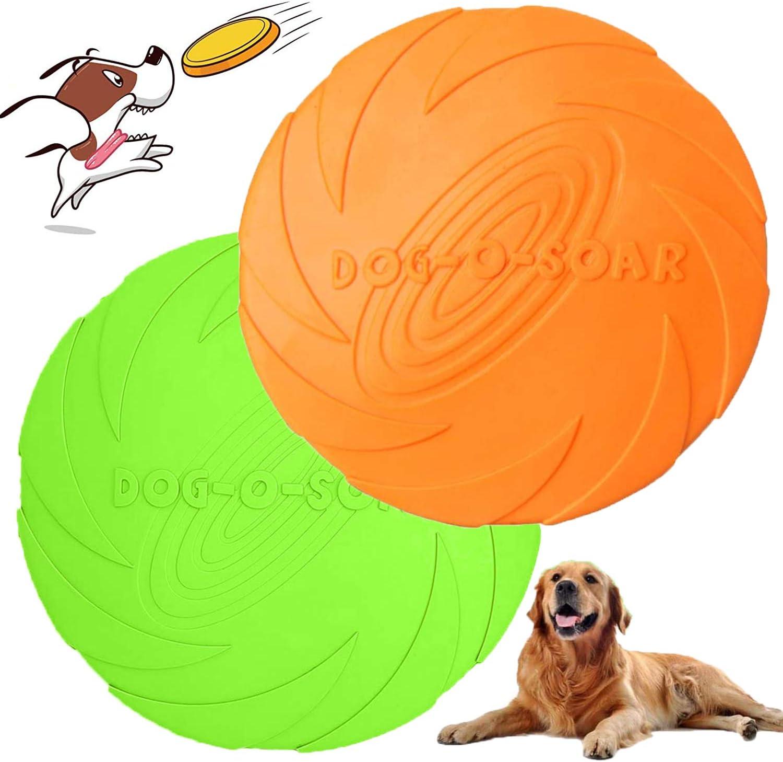 WELLXUNK Perros interactivos Frisbee, 2 Pcs Frisbee Perro, Juguete de Disco Volador para Perro, para Adiestramiento de Perros Juguetes de Tiro, Captura y Juego (M)
