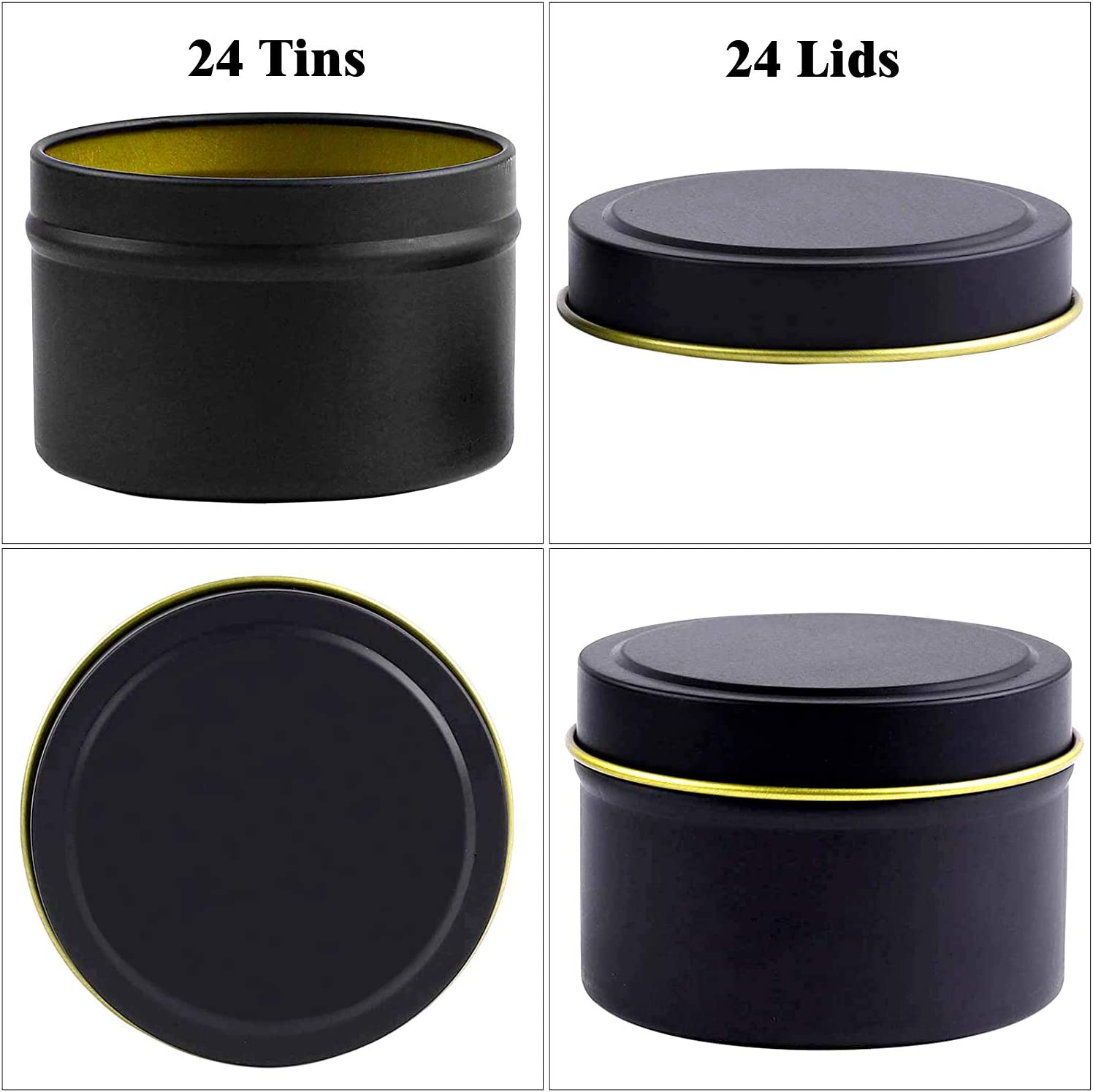 8 oz Storage /& More -Black Arts /& Crafts for Candle Making Candle tin 24 Piece