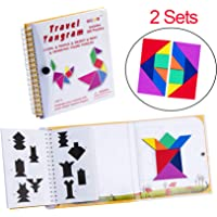 USATDD Tangram Game 360 Magnetic Puzzle Travel Games Jigsaw Solution Questions Kid Adult Challenge IQ Book Colorful Shapes Educational Toy 3-100 Years Old 【2 Set Tangrams 360 Patterns】