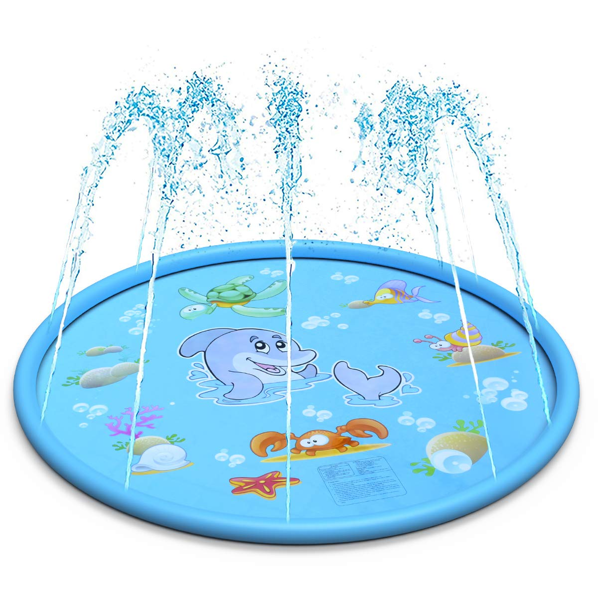 LEEHUR 67'' Sprinkle and Splash Play Mat Outdoor Summer Water Play Pad Toy Swimming Party Gift for Kids Children Infants Toddlers Boys Girls Blue by LEEHUR