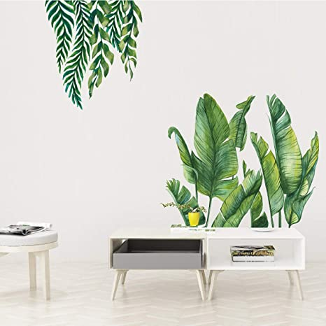 large green banana leaf wall sticker tropical plant Decals home art wallpaper  Removable Vinyl  mural  study room wall decor living room