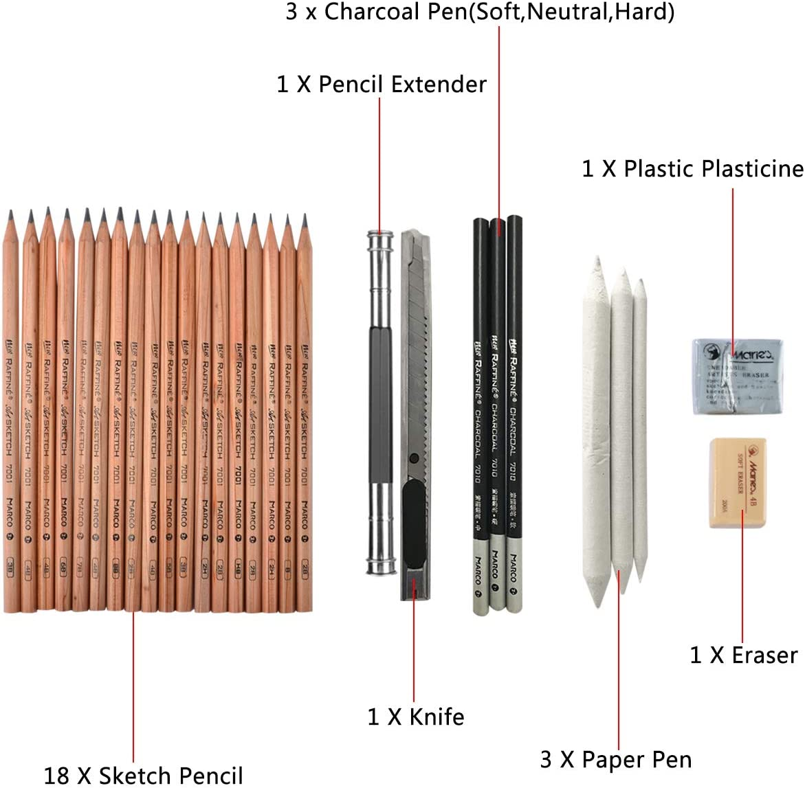 Carboncino per Disegnare Set di Matite con Strumenti di Disegno per Principianti e Artisti Kit Disegno Coolzon/® Sketching Set