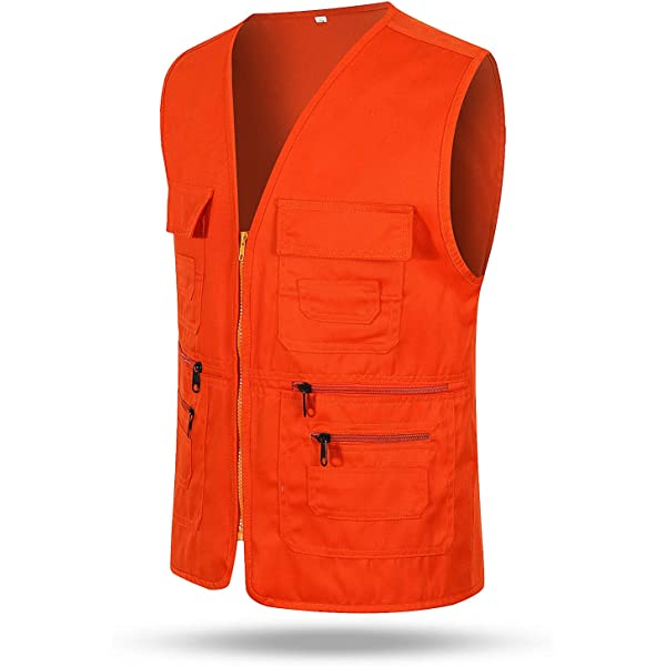 Mens Multi Pockets Fishing Hunting Mesh Vest Travel Outdoor Zip Jacket Waistcoat