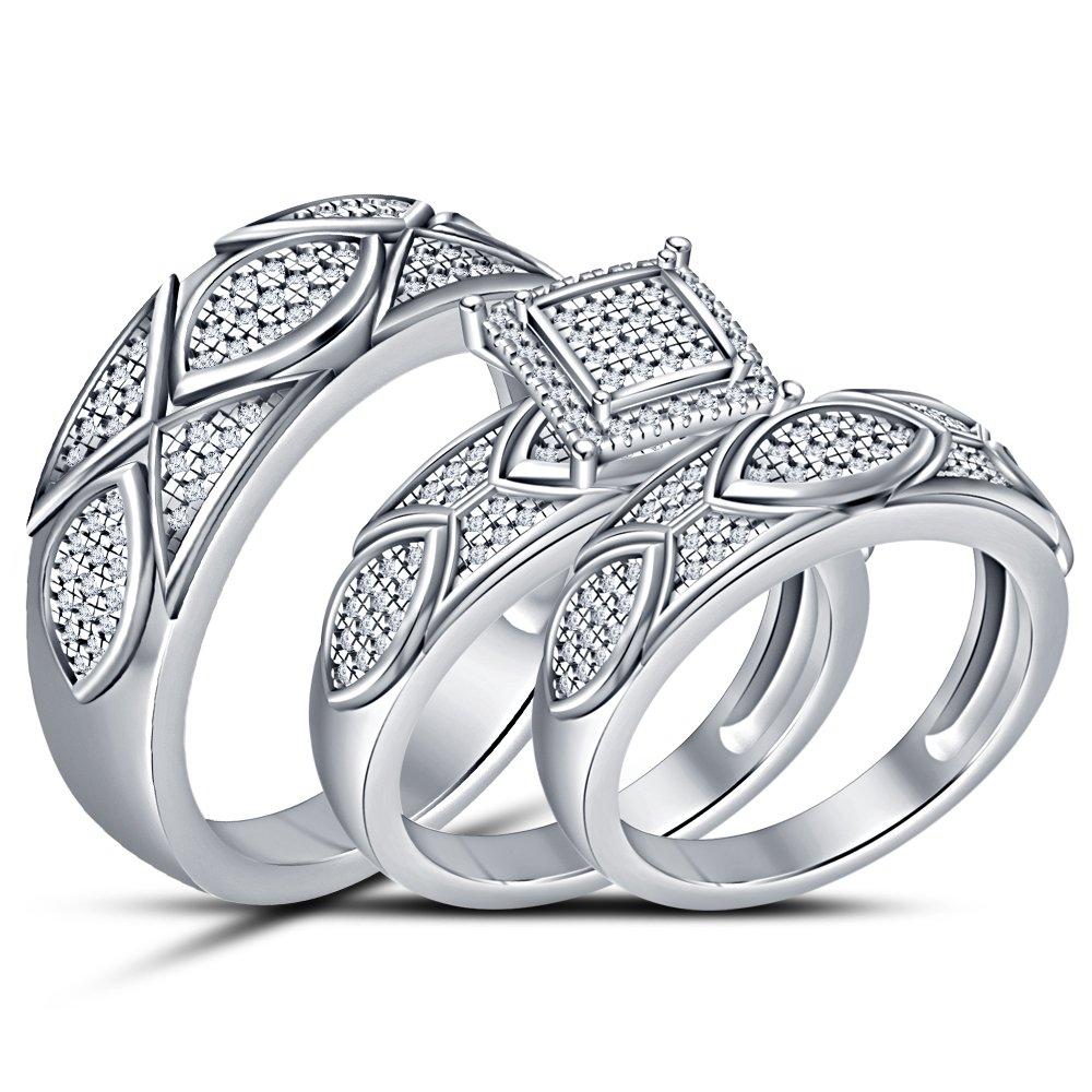 Vorra Fashion Sim, corte redondo Anillo de boda para hombre de diamante bañado en oro y plata de ley 925