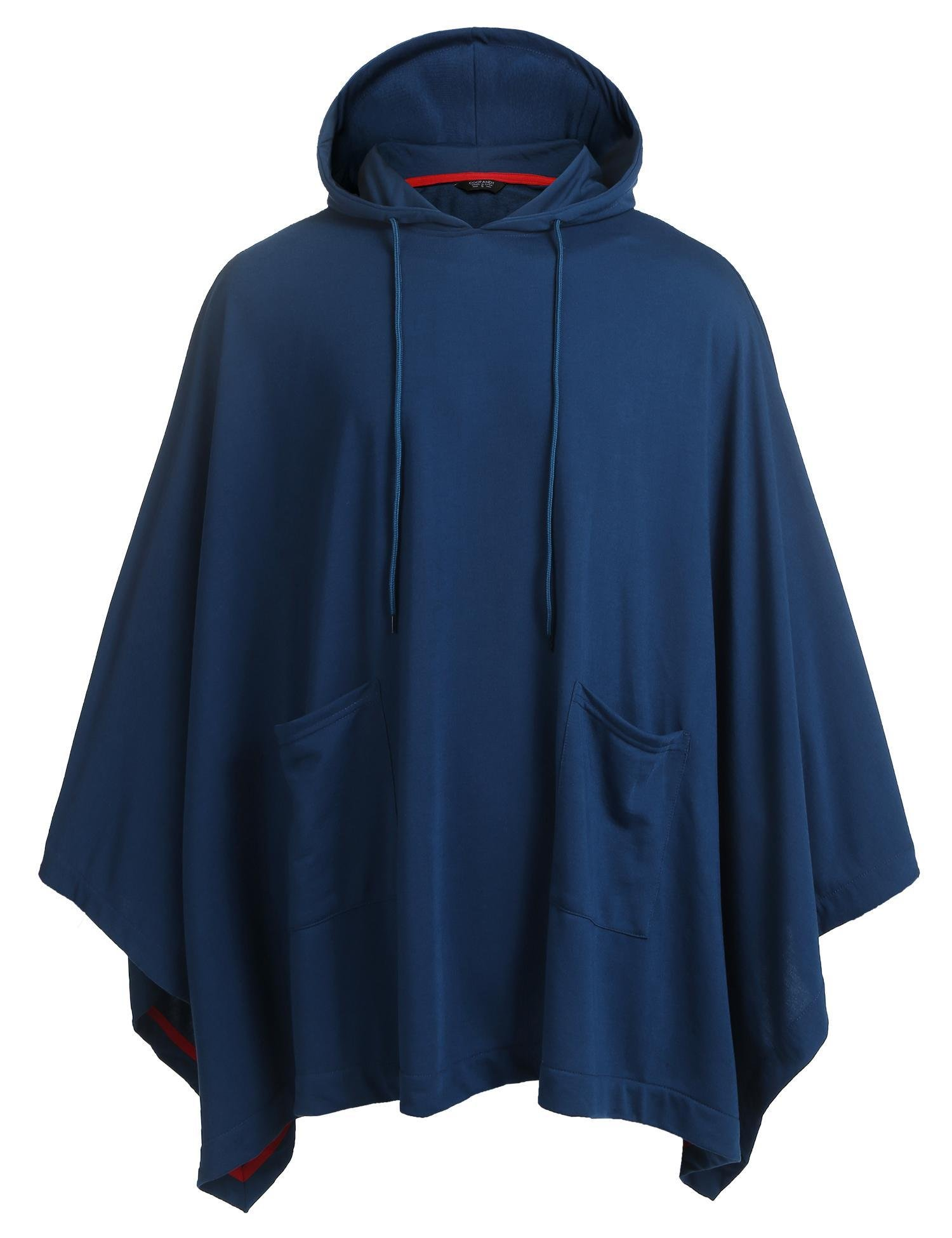 Coofandy Unisex Casual Hooded Cloak Poncho Cape Coat with Pocket, Dark Blue, Large