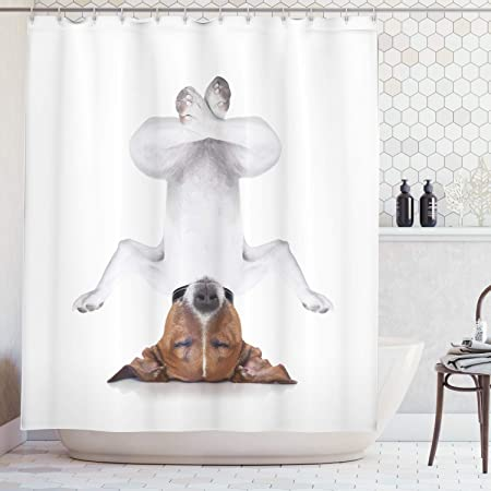 ABAKUHAUS Yoga Cortina de Baño, Perro Haciendo Vertical Relajado con Ojos Cerrados Yoga Calma Terapia Humor Animal, Estampa Moderna sobre Tela ...