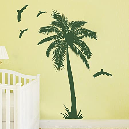 DecalMile Palm Tree Wall Decals Decorative Removable Vinyl Wall ...