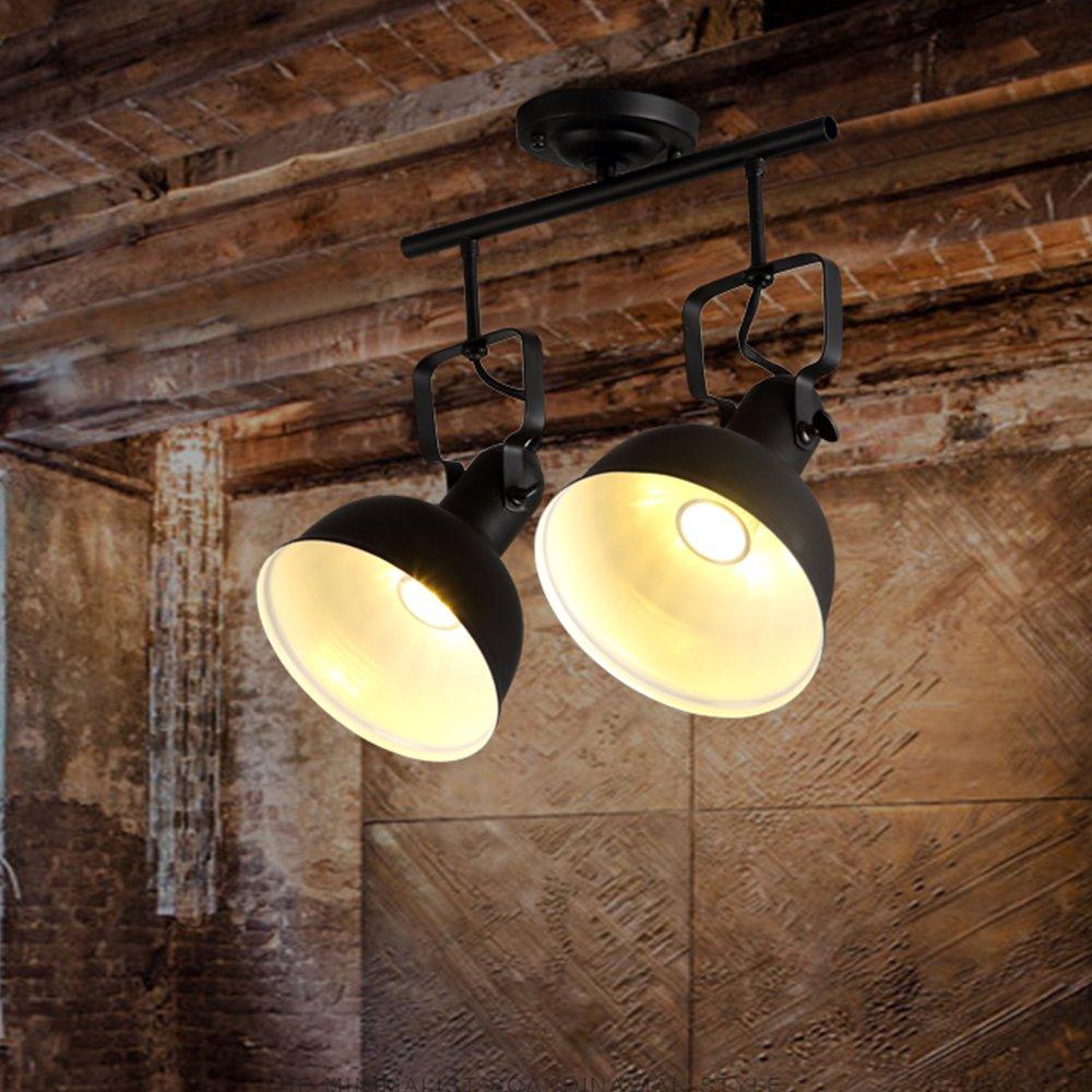 Vintage LED Spotlight Deckenleuchte, Retro Design E27 Metall Deckenlampe,schwarz,B