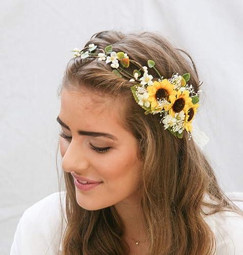 Fall flower crown Sunflower crown Sunflower headband Succulents flower crown Flower girl crown Bridal flower Crown Halo Sunflower headpiece