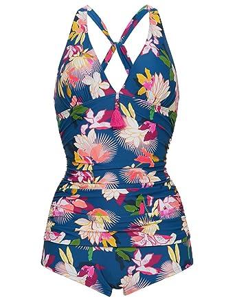 8b69a3c417 Figleaves Womens Luana Soft Wrap Boyleg Swimsuit Size 10 in Blue/Multi:  Amazon.co.uk: Clothing
