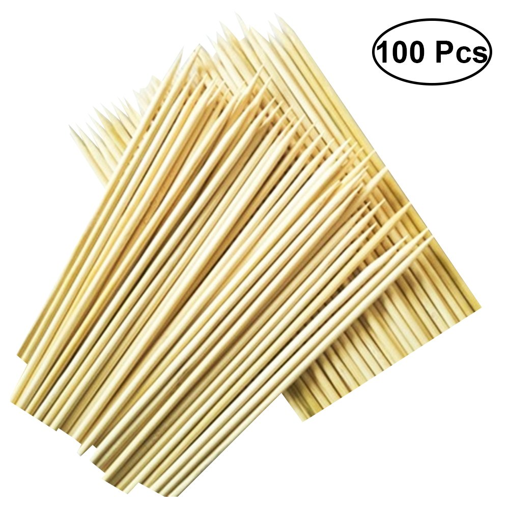 BESTONZON 100pcs Bamboo BBQ Skewers Wooden Roasting Sticks for Barbecue Kebabs Appetizers Fruit Cocktails 3mm x 25cm