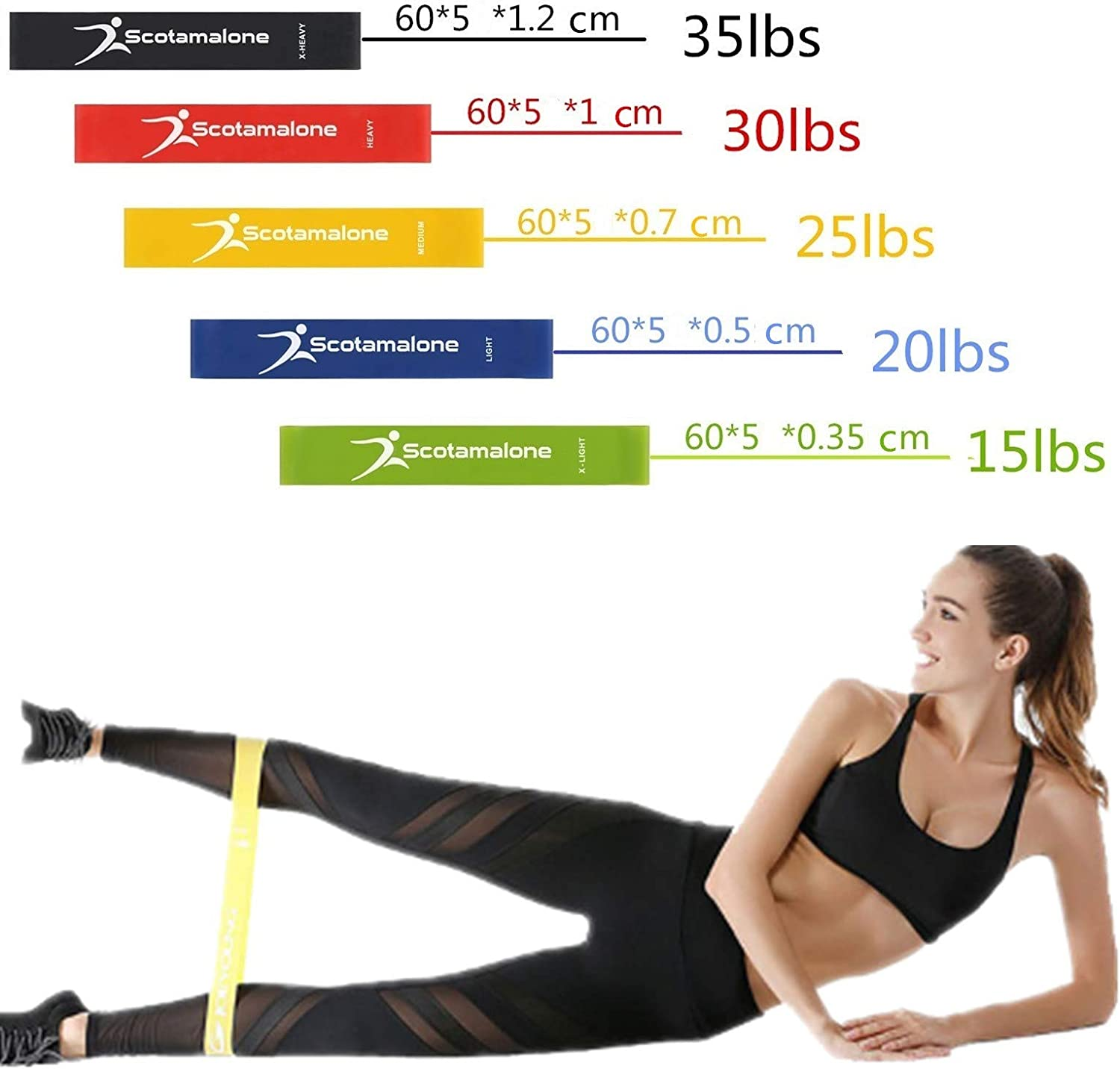 Scotamalone Exercise Resistance Loop Bands Fitness Bands Workout Bands Stretch Bands Loop kit for Legs Butt Pilates Glutes Yoga Crossfit Fitness Physical Therapy Home Equipment Training for Women Men