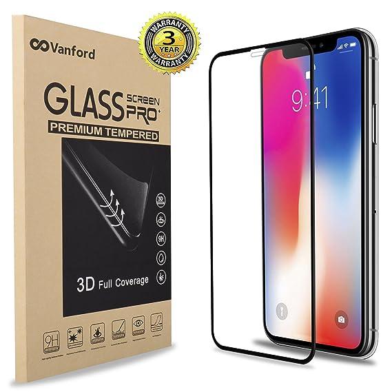 f242a56b4a618a Vanford - IPhone XS / X 3D Screen Protector [Edge To Edge Full Screen  Coverage] Premium Tempered Glass Screen Protectors for Apple IPhone XS / X  Ultra Clear ...