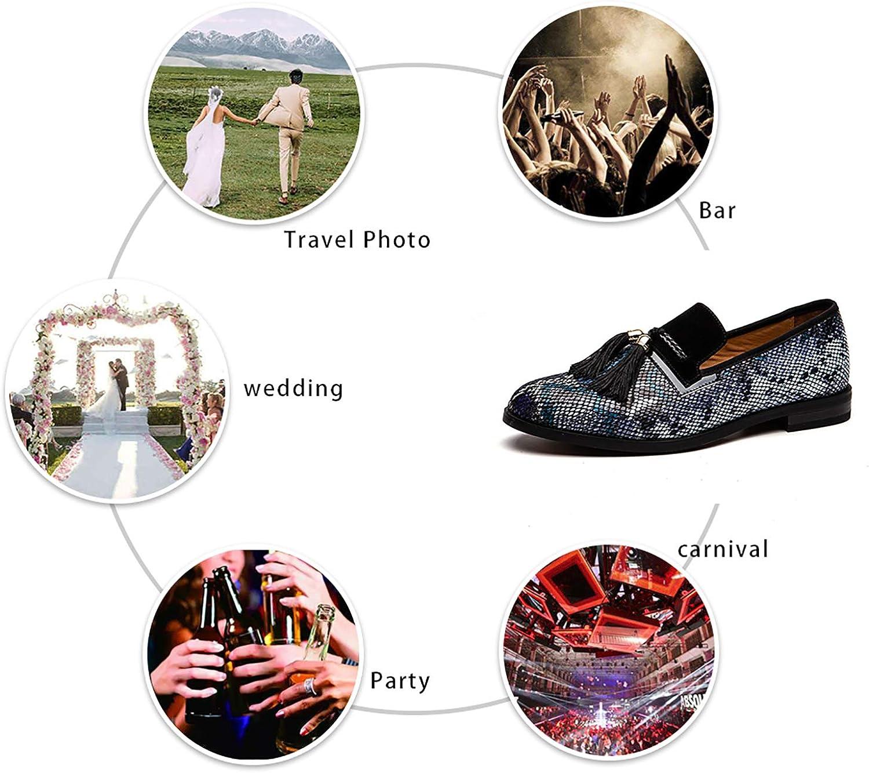 JITAI Mens Vintage Velvet Bv Embroidery Noble Loafer Shoes Slip-on Loafer Smoking Slipper Tassel Loafer