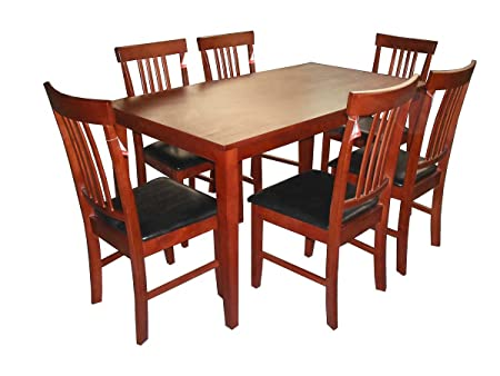 massa large solid rubberwood dining table plus 6 chairs amazon co