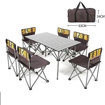 LJXiioo Mesa de Camping Plegable de Aluminio para Picnic ...