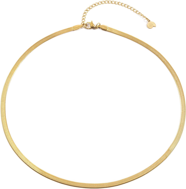 Happiness Boutique Damas Collar de Cadena Serpiente en Color Oro | Collar Delicado de Acero Inoxidable