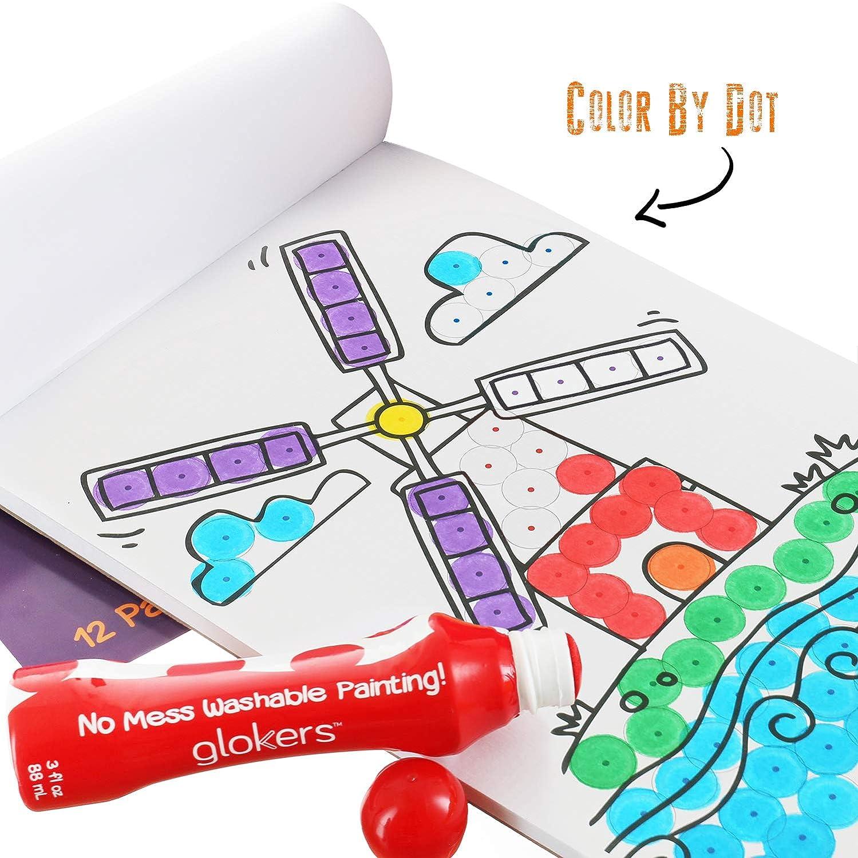 glokers Jumbo Marcadores de pintura lavable Dot y Coloring Book ...