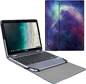 "Fintie Sleeve Case for 12.2"" Samsung Chromebook Plus V2 XE520QAB - Premium PU Leather Portfolio Book Cover Compatible with 12.2"" Samsung Chromebook Plus XE521QAB / Plus LTE XE525QBB, Galaxy"