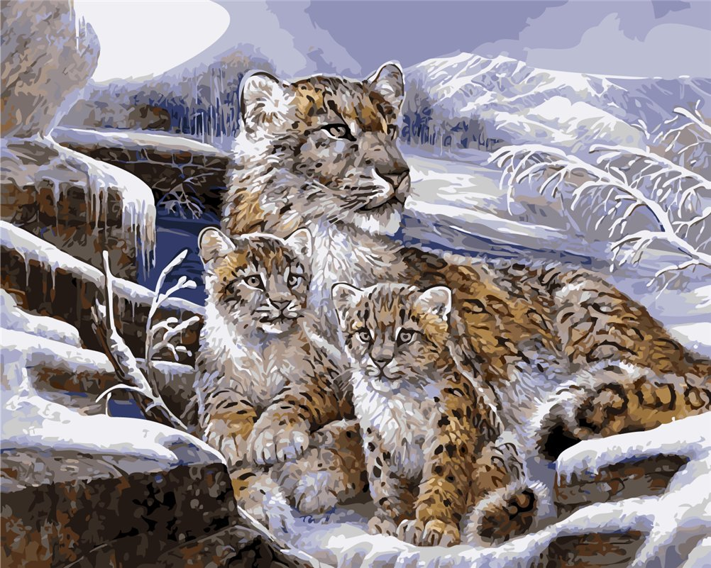 CaptainCrafts New Paint by Numbers 16x20 for Adults Beginner Children, Kids LINEN Canvas - Three Snow Leopard Family Baby (Frameless)