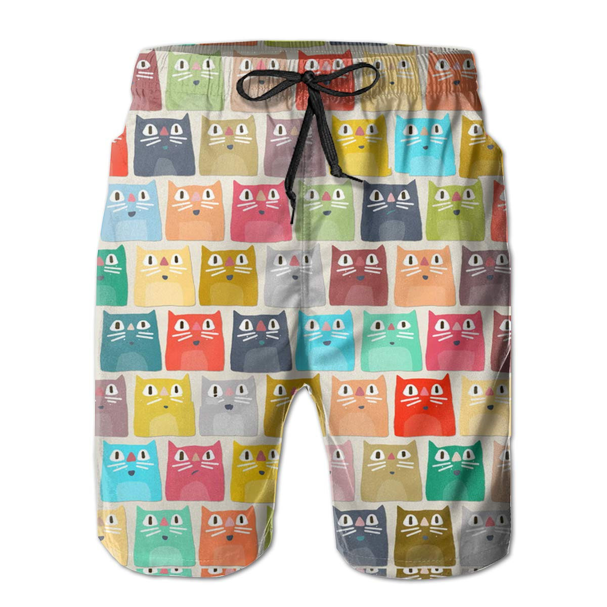 Mens Casual Swim Trunks Polyester Summer Cats Pattern Beachwear with Pockets