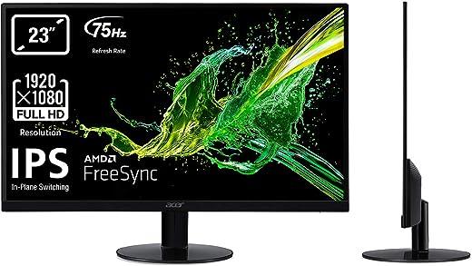 """Acer SA230Abi Monitor FreeSync da 23"""", Display IPS Full HD, 75 Hz, 4 ms, 16:9, VGA, HDMI 1.4, Schermo PC con Contrasto 100M:1, Lum 250 cd/m2, Cavo VGA Incluso, Nero"""