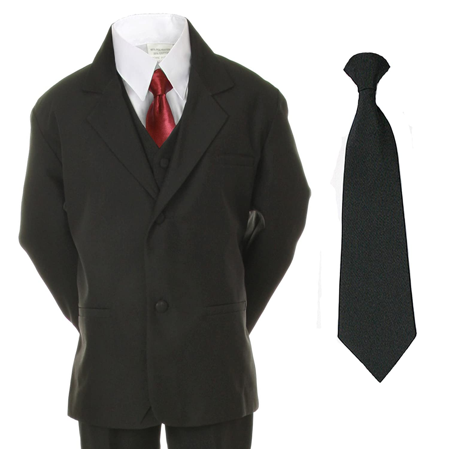 Unotux 6pc Boys Suit with Satin Burgundy Necktie from Baby to Teen