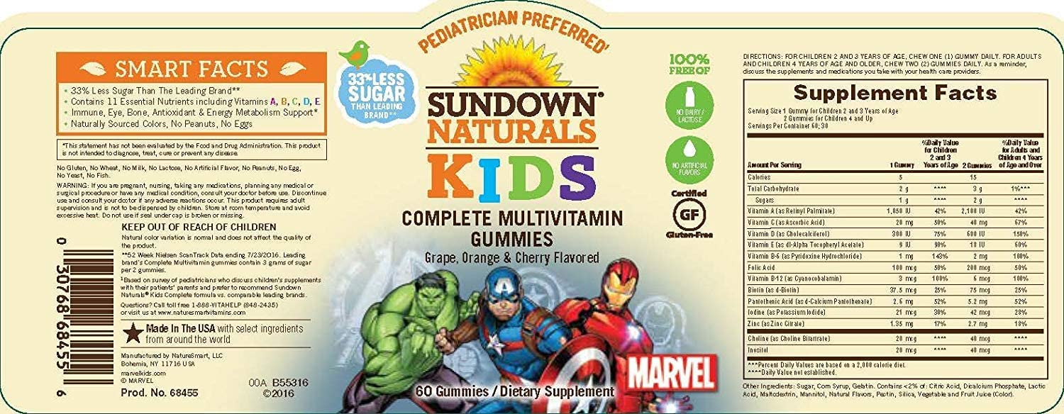 Marvel Avengers Multivitamin Gummies Assorted Flavors - 60 ct, Pack of 5