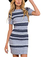 SDHEIJKY Women Short Sleeve Party Skinny Sexy Knitted Striped Dresses Vestidos