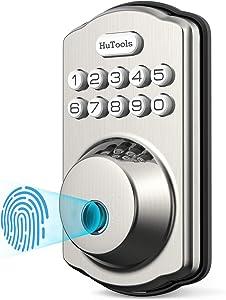 Keyless Entry Door Lock, Hutools Keypad Deadbolt Lock Fingerprint, Biometric Auto Lock, 20 User Codes, Emergency Charging Supply, Satin Nickel