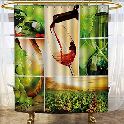 Lacencn WineShower Curtains FabricWine Tasting And Grapevine Collage Green Fresh Field Pouring