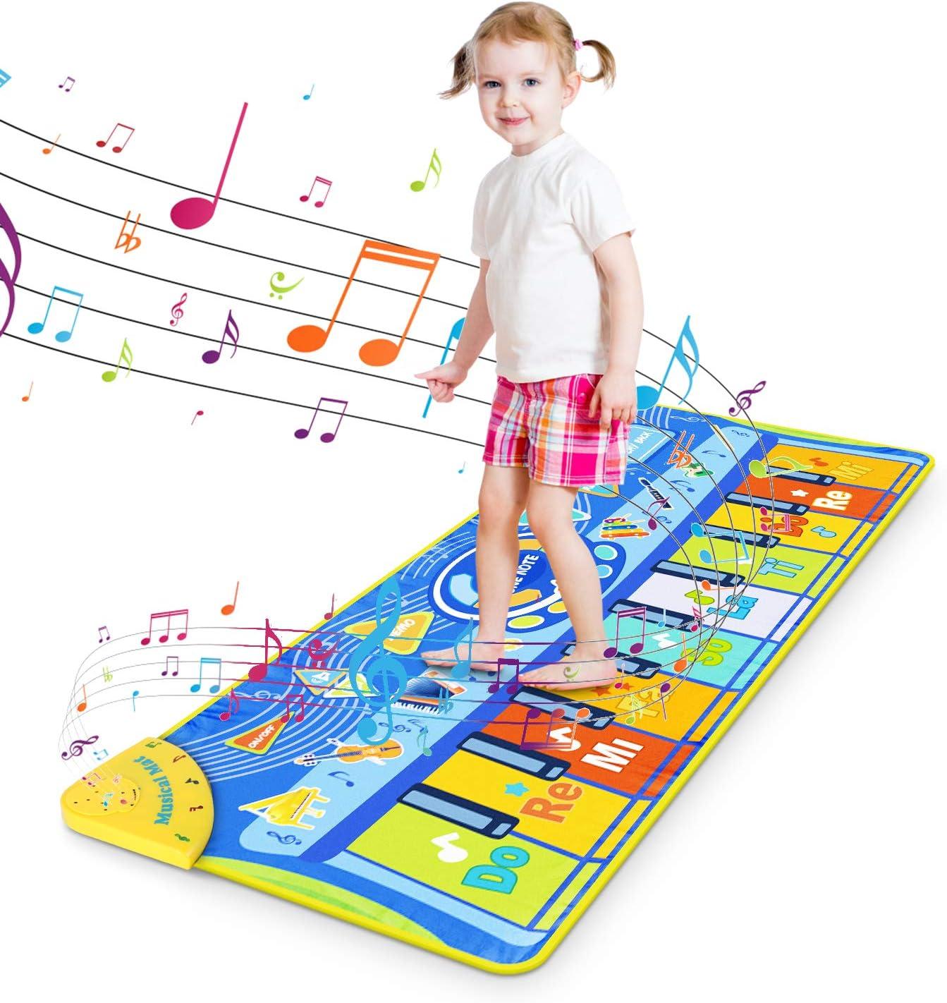 Best Educational Music Toys 130x48cm Kids Piano Mat Music Mat Dance Mat Keyboard Musical Mat Touch Play Mat Floor Playmat for Babies Children Toddlers Boys Girls Gift