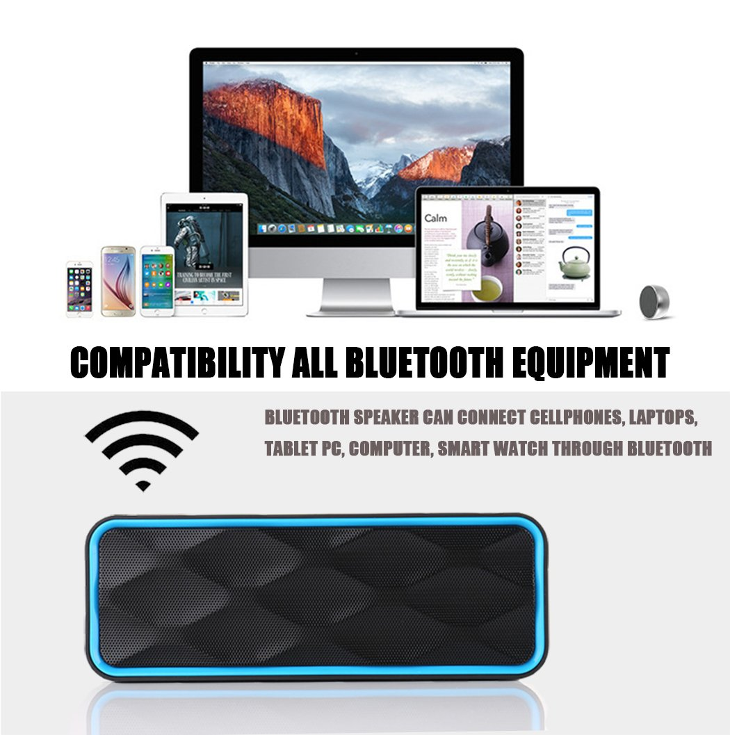MANCASSY N7 Wireless Bluetooth Speaker, Outdoor Portable Stereo Speaker with HD Audio and Enhanced Bass, Built-In Dual Driver Speakerphone, FM Radio and TF Card Slot (Blue) by MANCASSY (Image #4)