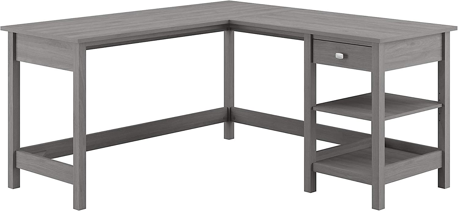 Bush Furniture Broadview L Shaped Computer Desk with Storage, 60W, Modern Gray