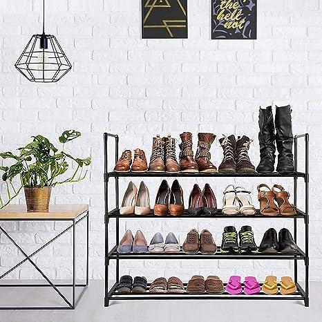 Shoe Racks Storage Organizer Cabinet Closet Stackable Shoe Tower Shelf Space Saving Durable Metal Organizer Rack Holds 20 Pairs DazHom 4-Tier Shoe Rack Black
