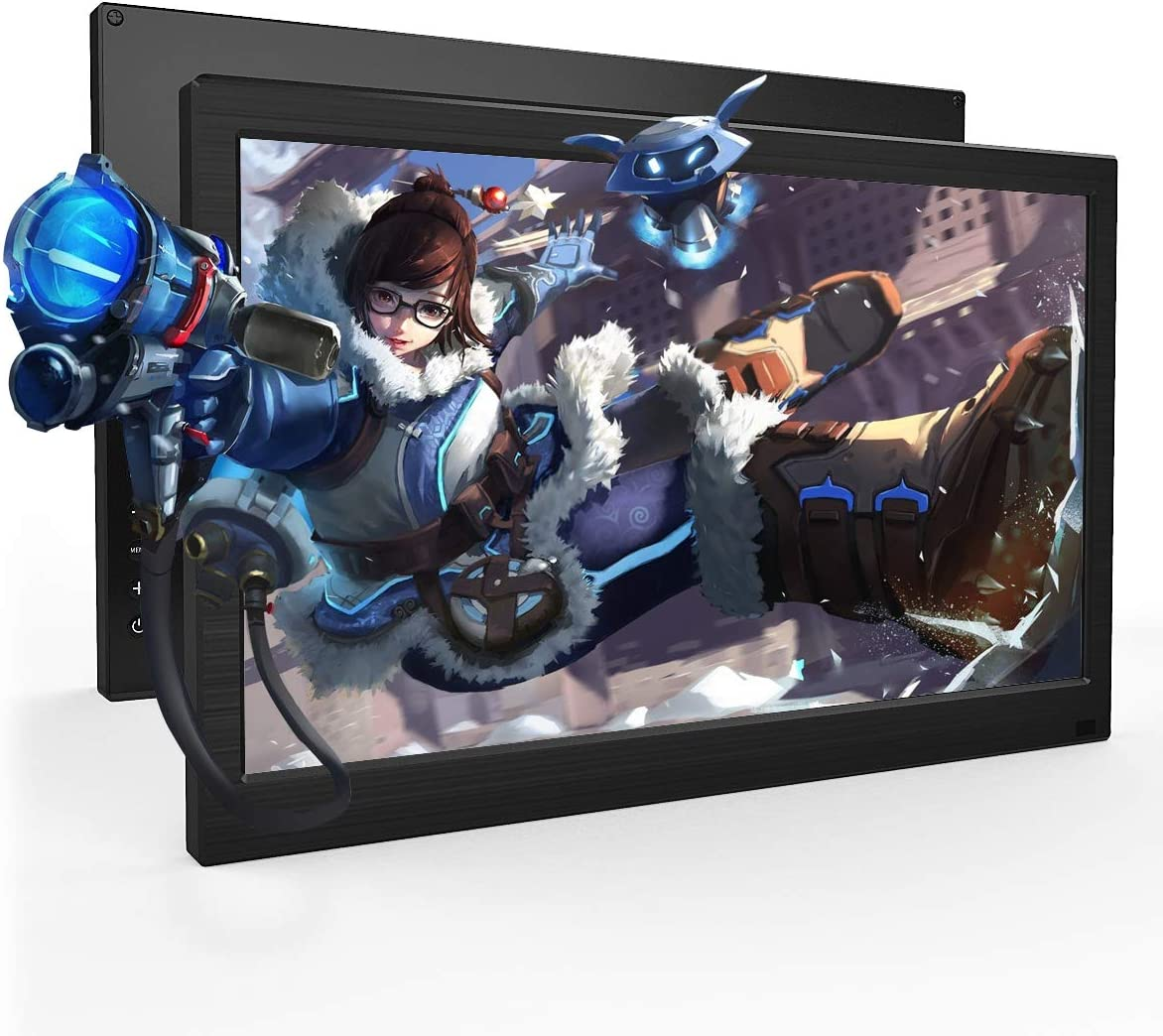 WIFIGDS Monitor 13.3 Inch HD Portable Monitor Display with 1366x768 Resolution Travel Monitor Screen for Laptop PC PS4 Xbox, VGA HDMI Audio Input, VESA Supported