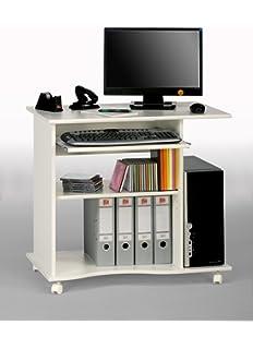 Computertisch drucker modern  FineBuy Computertisch DAVID rollbar Weiß 90 x 71 x 50 cm mit ...
