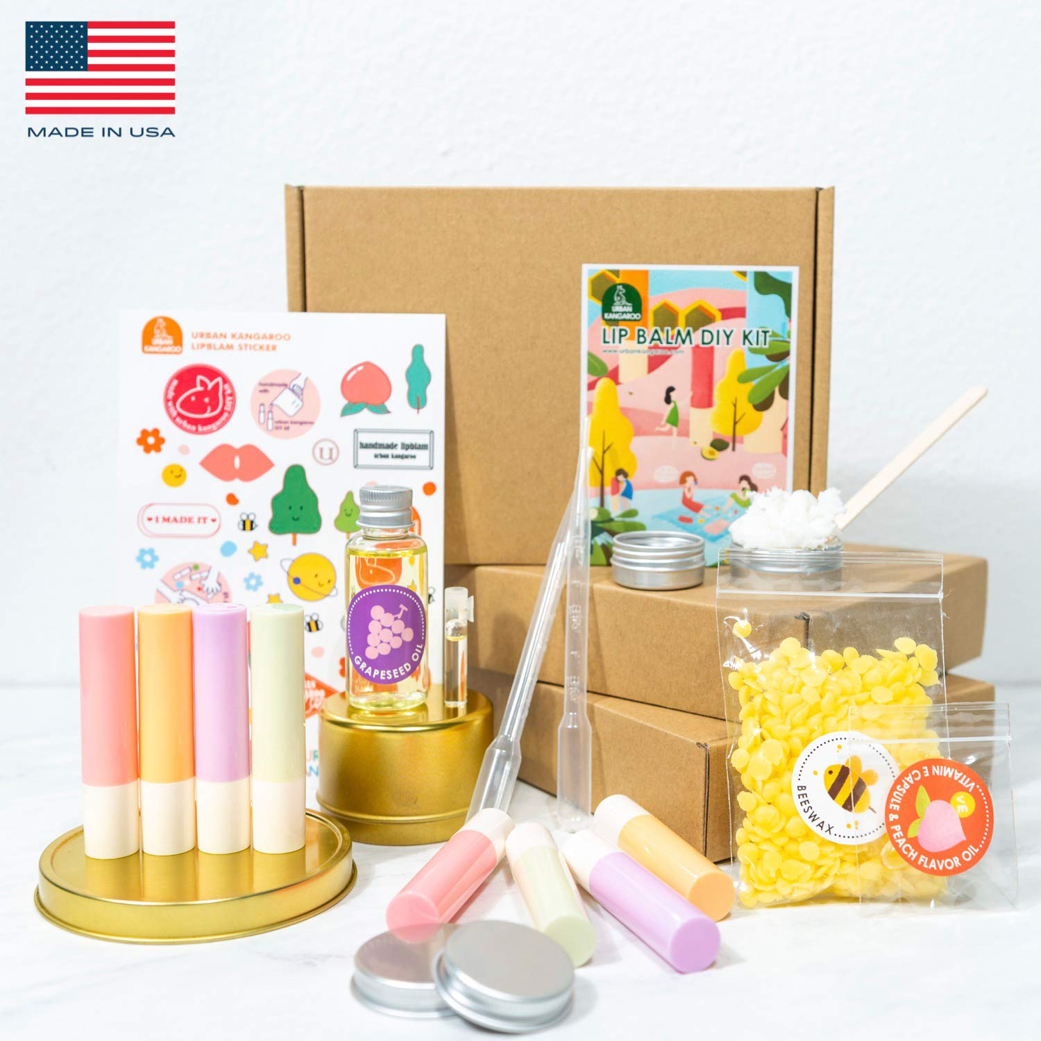 DIY Shea Butter Lip Balm Making Kit, Creates 10 Luxurious Lip Balms with EVERYTHING You Need