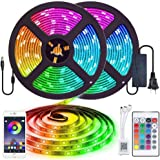 Tira LED Bluetooth, MyDear 10M (2x5M) 300 LED Tira de Luz Controlada por APP del Teléfono Inteligente, Tiras de Luces 5050 Con Control Remoto, 16 RGB Colores y 4 Modos, Compatible con Android y IOS