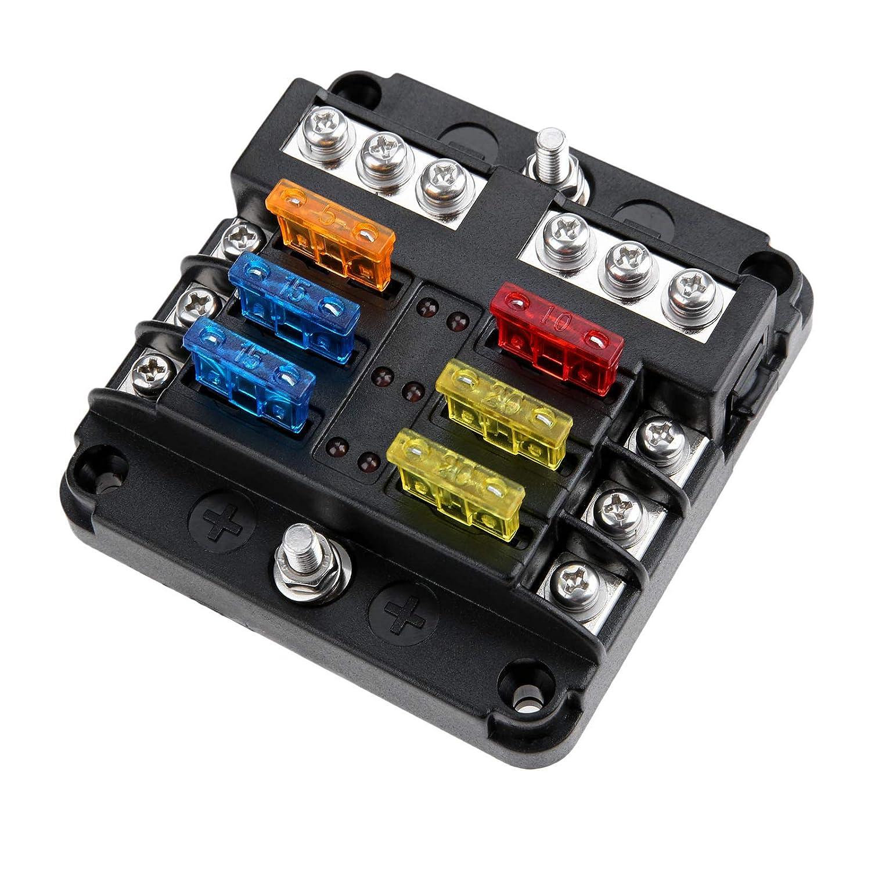12v 1 x 4 way blade fuse box holder fuses mtsooning 88x85x35mm 6 way 12v 32v car fuse box buss bar  6 way 12v 32v car fuse box buss bar