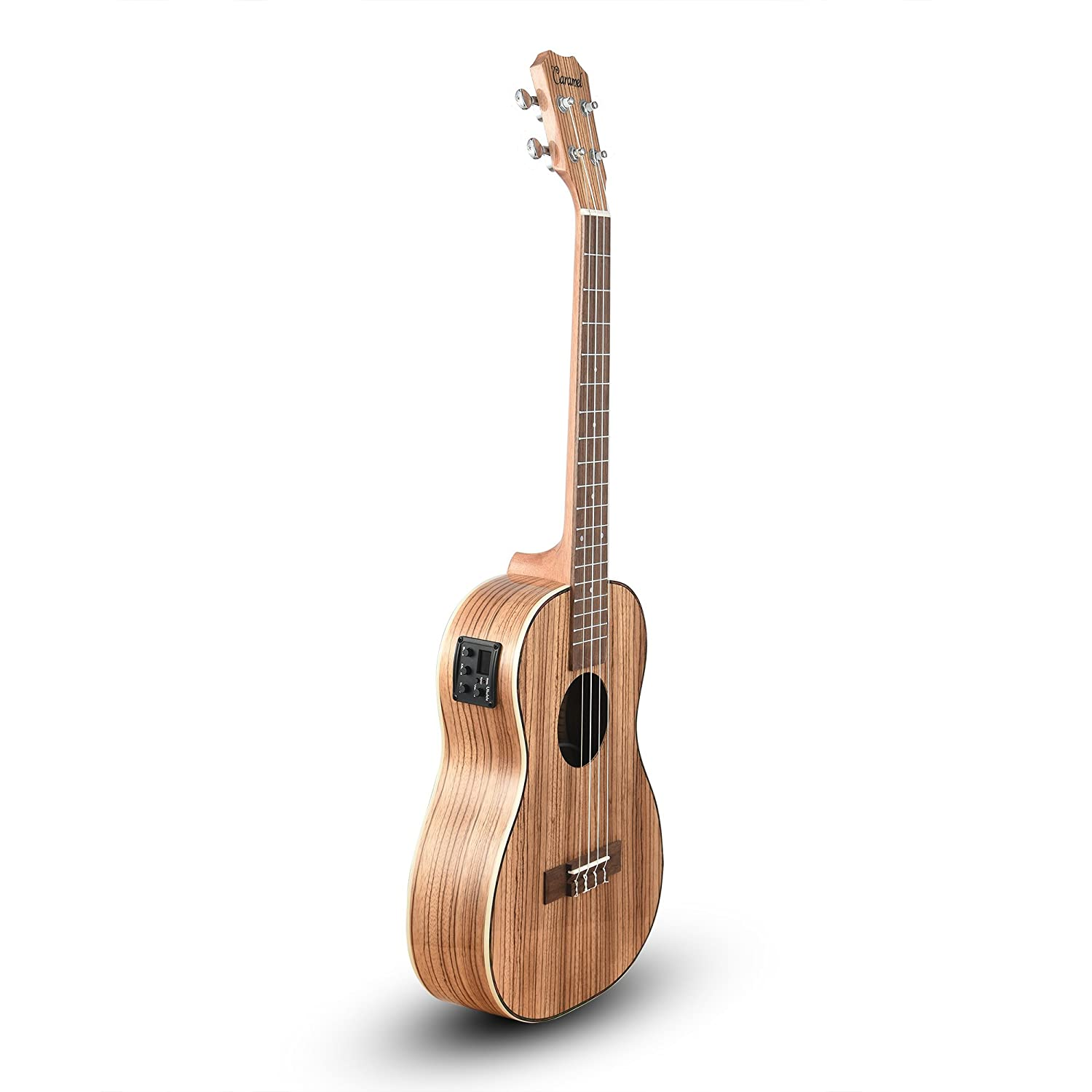 3. Caramel CB103 30 Inch High Gloss Zebra Wood Baritone Acoustic-Electric Ukulele