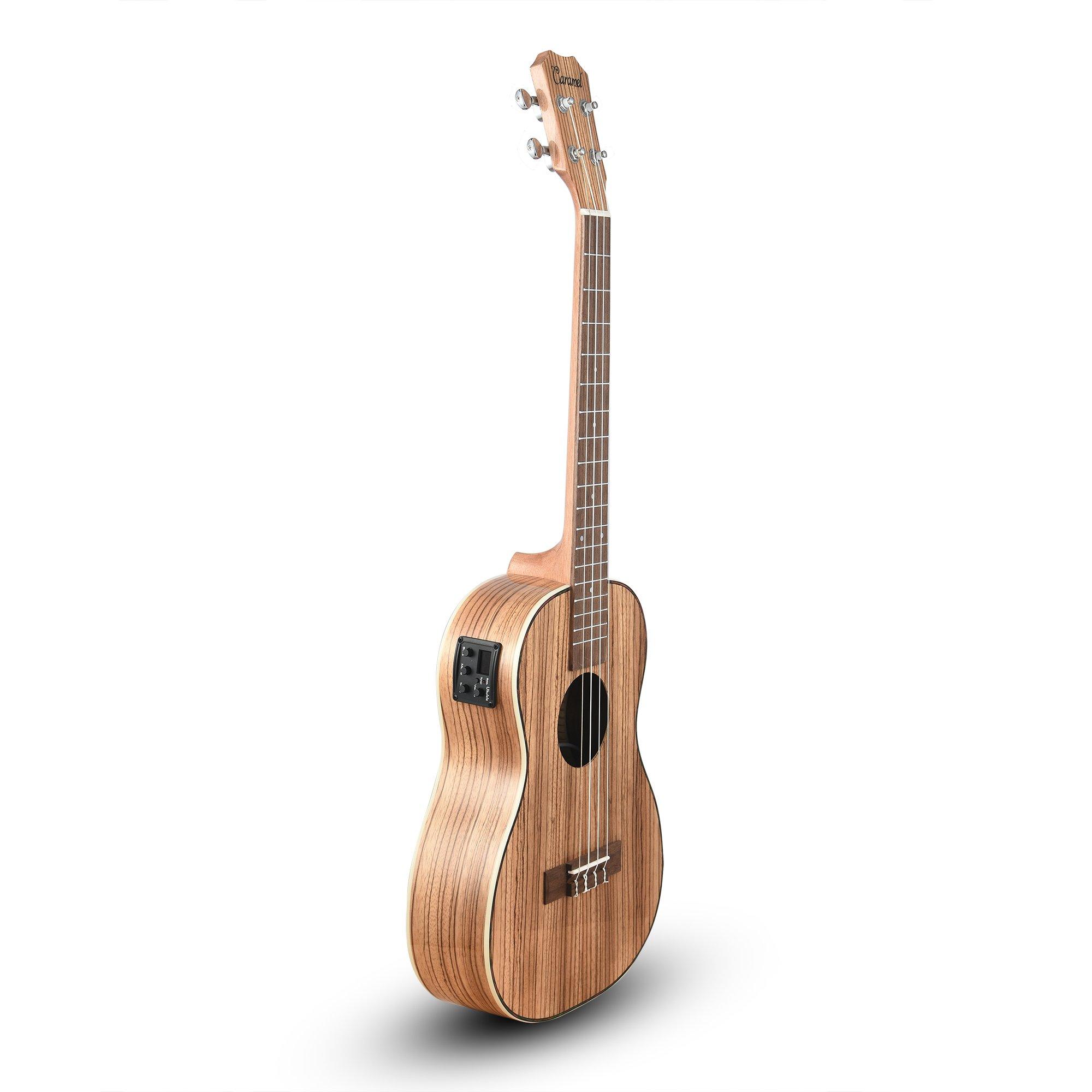 Caramel CB103 30 Inch High Gloss Zebra Wood Baritone Acoustic Electric Ukulele With Truss Rod