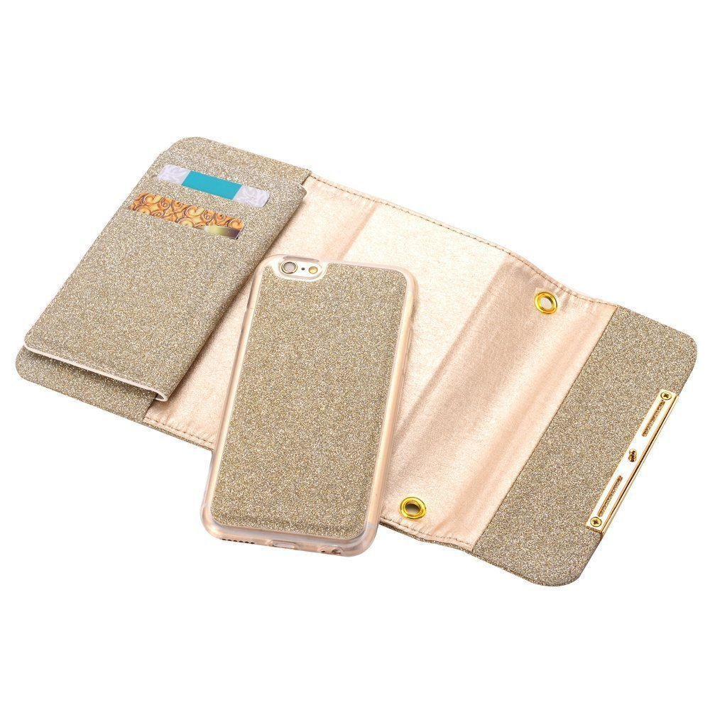 Apple iPhone X Case Wallet Cover,MeLiio Girls Cute Style Glitter Powder PU Leather Stand Flip Book Cover with Cards Slots Lady Multi Envelope Wallet Carrying Case Handbag for iPhone X 5.8 inch (Gold) by MeiLiio (Image #5)