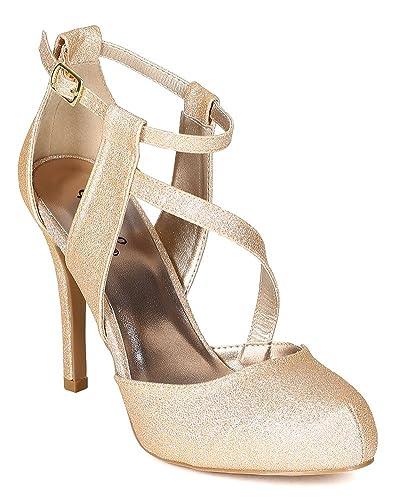 00f66e68ea5 Qupid Women Glitter Leatherette Almond Toe Ankle Strap Platform Stiletto  Heel Pump BG46 - Champagne (