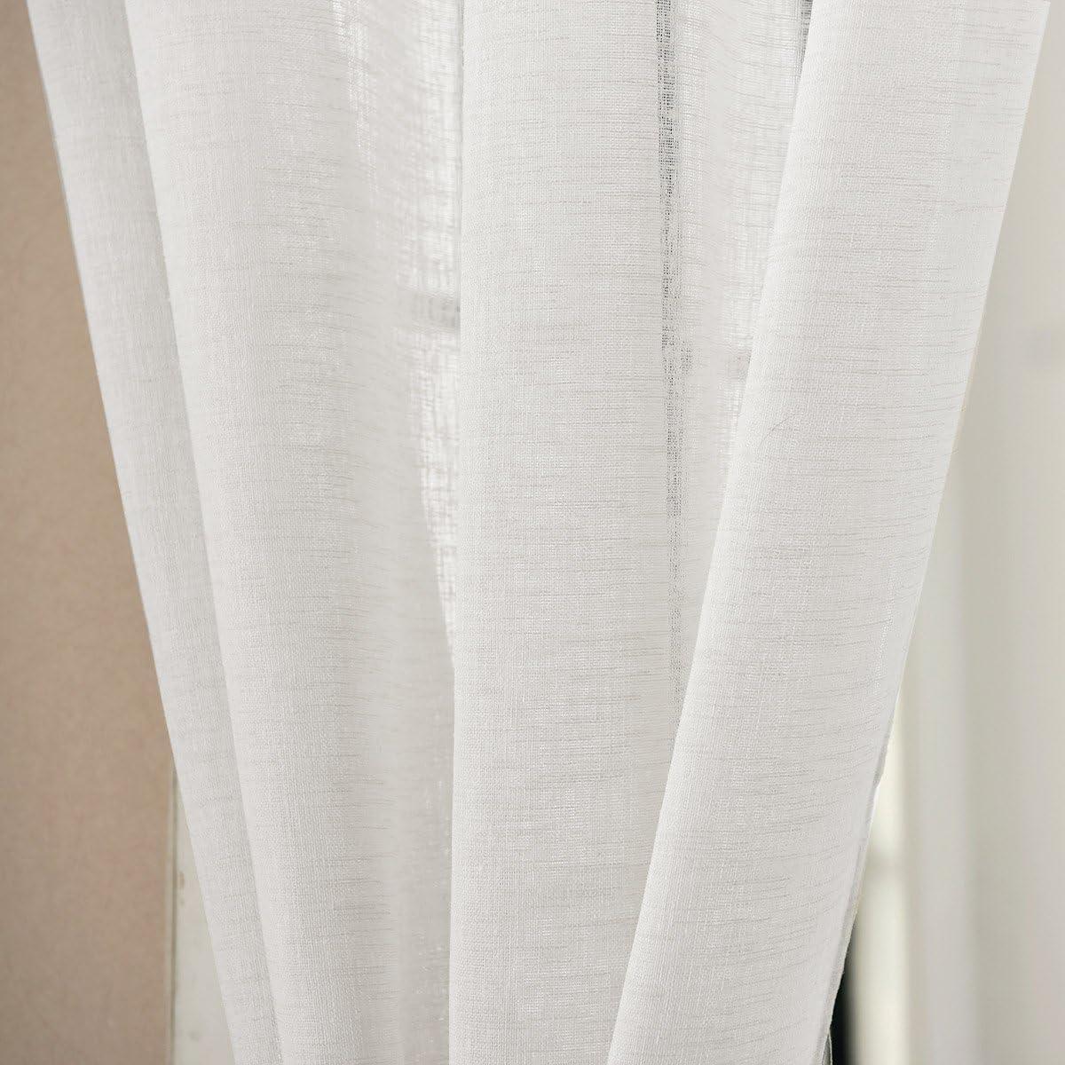 Transmission de la lumi/ère 140 x 175 cm Sable Laneetal 1pc Rideau Voilage en Aspect Lin avec Ruban de Curling pour Salon Chambre Fen/être