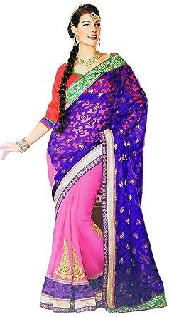 1e5086b178 Amazon.com: Trendy Blue Designer Sari Exclusive Georgette Saree Indian Women  Dress Clothing: Clothing