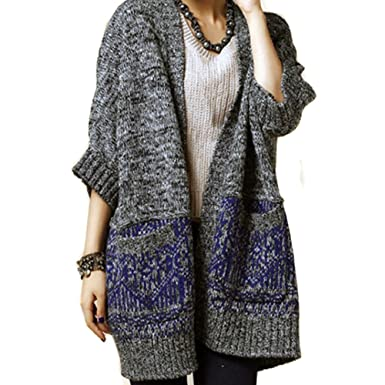 cdf5a78ac7e041 LOCOMO Women Gray Knit Crochet Batwing Baggy Loose Cardigan FFJ022BLU