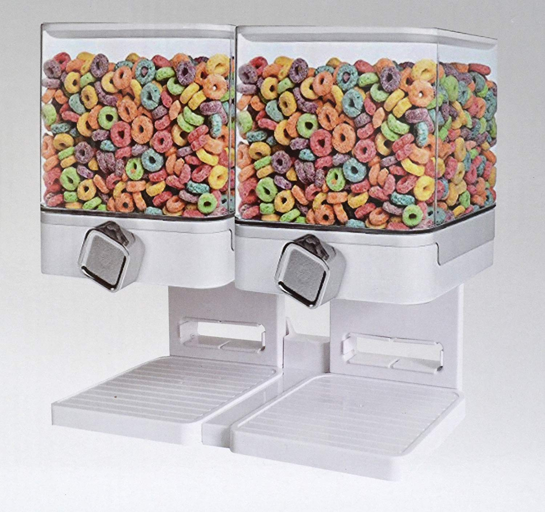 Doppio / singolo Dispensatore di cereali Secco cibo Contenitore macchina / immagazzinaggio detiene 19 once di alimento (Double Dispenser Bianco) s&s