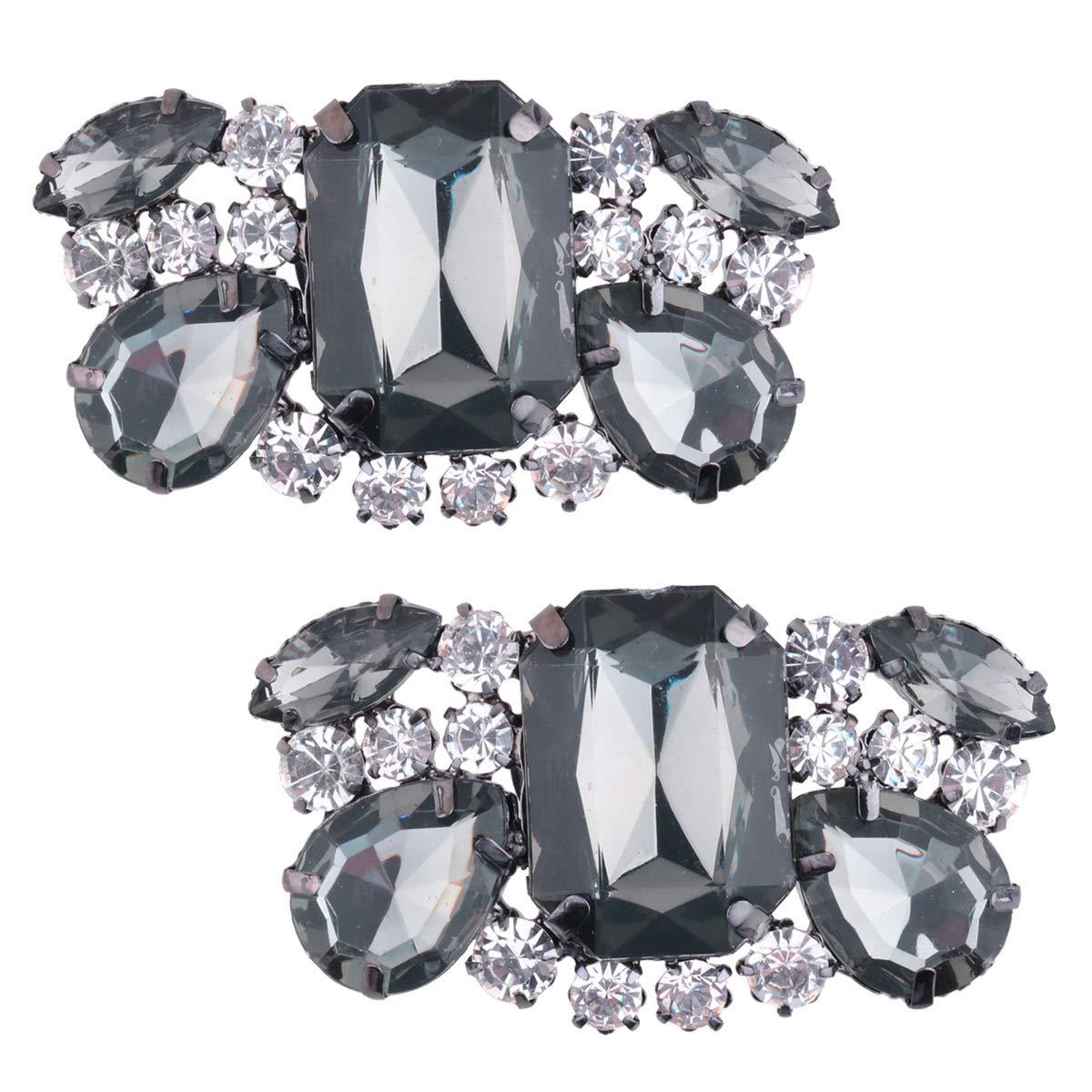 IEFIEL 1 Pair Women Charming Crystal Rhinestones Shoe Clips High Heel Buckle for Wedding Prom Black C One Size