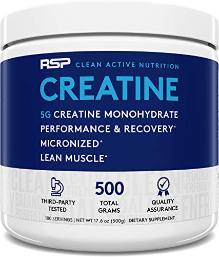 RSP Creatine Monohydrate Pure Micronized Creatine Powder Supplement for Increased Strength, Muscle Recovery, and Performance for Men Women, Unflavored, 500 grams